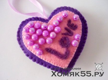 Декоративное сердце из фетра и шерсти своими руками