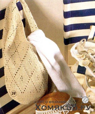 Вязаная сумка из ромбов