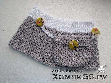 Вязаная пляжная мини-юбка для девочки
