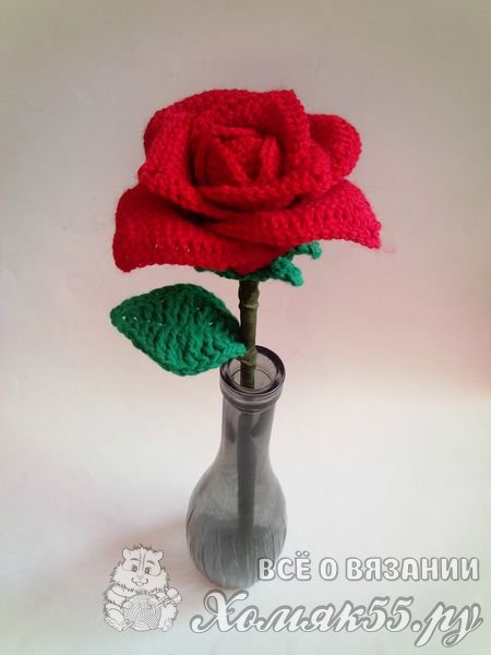 Роза крючком к 8 марта