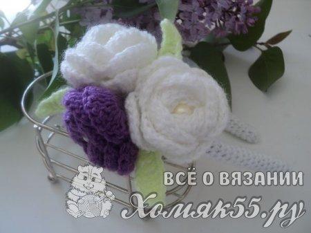 Ободок с цветами вязаный крючком