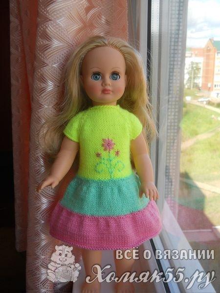 Вязание платья для куклы спицами